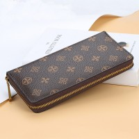 Zipper Closure Handheld Money Wallet - Brown