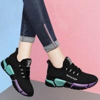 Lace Closure Sports Wear Mesh Canvas Sneakers - Black