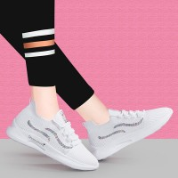 Flat Canvas Breathable Running Gym Wear Sneakers - White