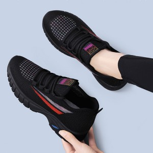Canvas Flat Breathable Running Gym Wear Sneakers - Black Red