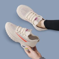 Canvas Flat Breathable Running Gym Wear Sneakers - Beige