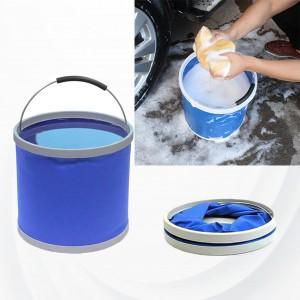 9 Liter Multi Purpose Foldable Car Wash Camping Bucket - Blue