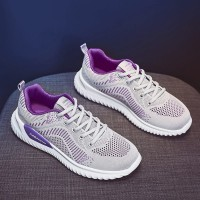 Lace Closure Mesh Rubber Sole Women Fashion Sneakers - Gray