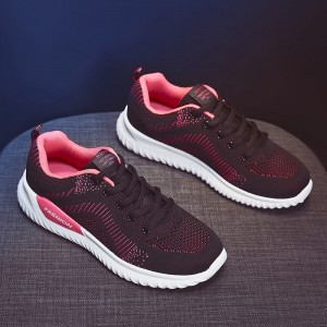Lace Closure Mesh Rubber Sole Women Fashion Sneakers - Pink