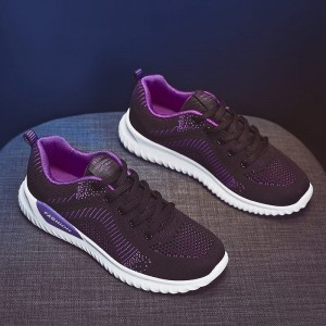 Lace Closure Mesh Rubber Sole Women Fashion Sneakers - Purple