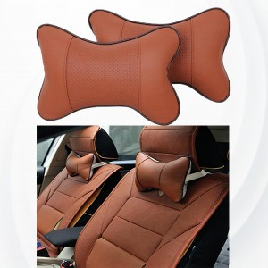 2 Pieces High Quality Small Car Seat Neck Pillow - Dark Brown