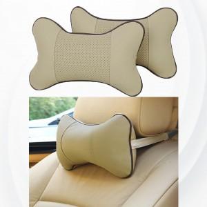 2 Pieces High Quality Small Car Seat Neck Pillow - Khaki