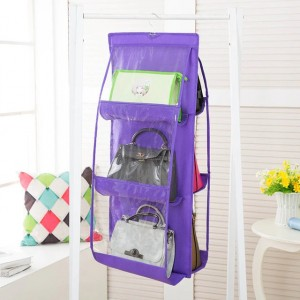 6 Pocket Multi Purpose Wardrobe Closet Handbag Hanging Organizer - Purple