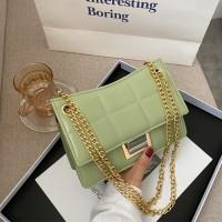 Patchwork Geometric Chain Strap Messenger Bags - Green