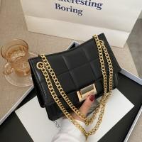 Patchwork Geometric Chain Strap Messenger Bags - Black
