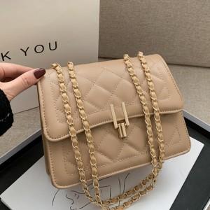Geometric Patchwork Chain Strap Messenger Bags - Khaki