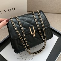 Geometric Patchwork Chain Strap Messenger Bags - Black