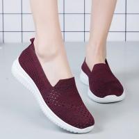 Slip Over Flat Wear Women Fashion Sneakers - Dark Red