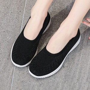 Canvas Rubber Sole Slip Over Flat Sneakers - Black