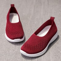 Canvas Rubber Sole Slip Over Flat Sneakers - Red
