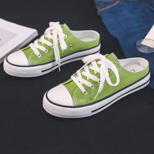 Lace Closure Solid Color Mule Sneakers - Green