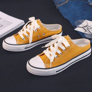 Lace Closure Solid Color Mule Sneakers - Yellow