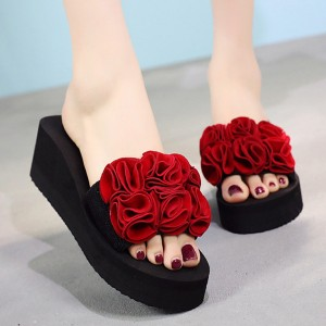 Floral Style Patched Thick Sole Foam Platform Heel Slippers - Red