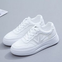 Lace Closure Flat Sole Rubber Sneakers - White