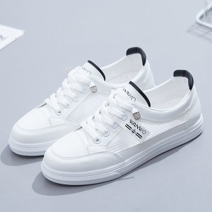 Lace Closure Flat Sole Rubber Sneakers - White Black