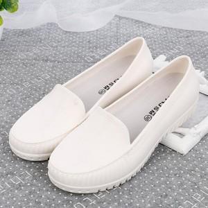 Slip Over Casual Wear Women Fashion Flat Shoes - White