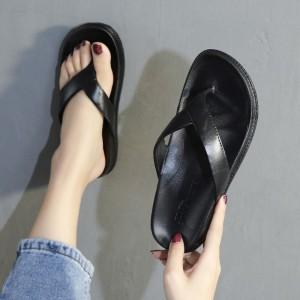 Rubber Soft Sole Casual Wear Flip Flop Slippers - Black