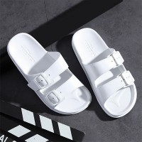 Buckle Flat Rubber Sole Casual Wear Slippers - White