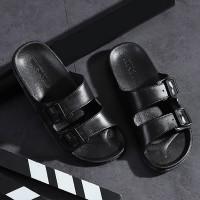 Buckle Flat Rubber Sole Casual Wear Slippers - Black