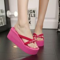 Cross Strap Foam Sole Platform Heel Slippers - Pink