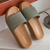 Hollow Plastic Sole Slip Over Casual Wear Slippers - Green