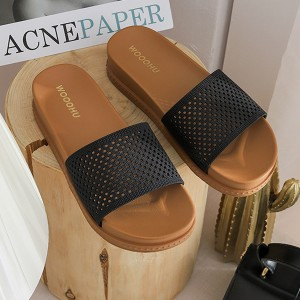 Hollow Plastic Sole Slip Over Casual Wear Slippers - Black