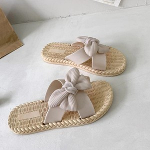Bow Style Beach Style Casual Wear Women Slippers - Light Pink