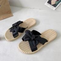 Bow Style Beach Style Casual Wear Women Slippers - Black