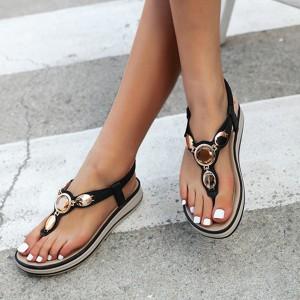 Rhinestone Elastic Slip Over Closure Flat Sandals - Black