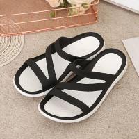 Cross Strappy Rubber Sole Soft Casual Wear Slippers - Black