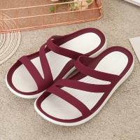 Cross Strappy Rubber Sole Soft Casual Wear Slippers - Red