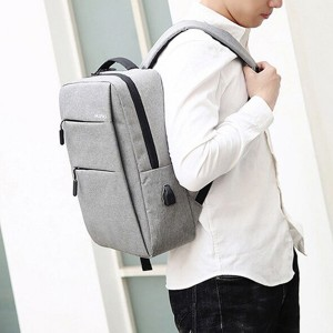 Zipper Closure Double Handled Nylon Canvas Backpacks - Gray