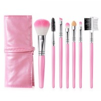 Seven Pieces High Quality Women Fashion Makeup Brushes Set - Pink