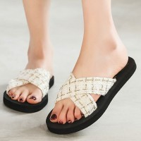 Thick Sole Cross Strap Women Fashion Slippers - White