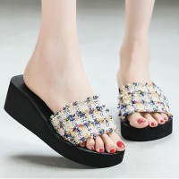 Mesh Colorful Thick Bottom Women Fashion Slippers - Multicolor