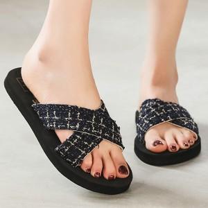Thick Sole Cross Strap Women Fashion Slippers - Black