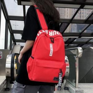 Alphabetic Printed Zipper Closure Nylon Wide Space Backpacks - Red