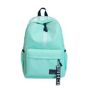 Alphabetic Printed Zipper Closure Nylon Wide Space Backpacks - Green