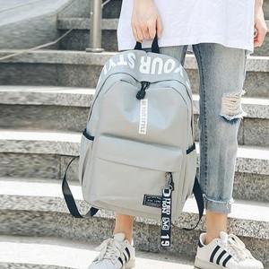 Alphabetic Printed Zipper Closure Nylon Wide Space Backpacks - Gray