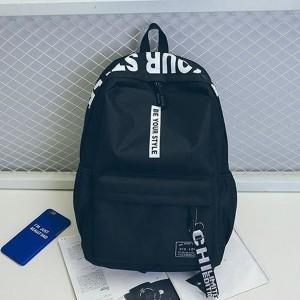Alphabetic Printed Zipper Closure Nylon Wide Space Backpacks - Black