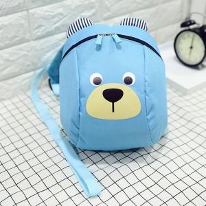 Bear Printed Cute Zipper Closure Kids Backpacks - Blue