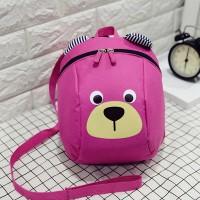 Bear Printed Cute Zipper Closure Kids Backpacks - Hot Pink
