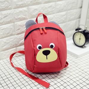 Bear Printed Cute Zipper Closure Kids Backpacks - Red