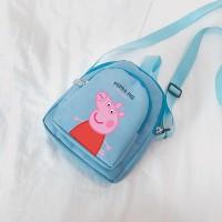 Piggy Printed Cute Zipper Closure Kids Backpacks - Blue