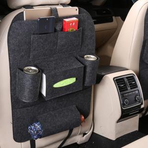 1 Piece Multifunctional Felt Car Back Seat Storage Bag - Black